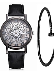 cheap -Couple's Wrist Watch Quartz Gift Set Leather Black / White / Blue Chronograph Creative New Design Analog Vintage Fashion - Black Brown Blue