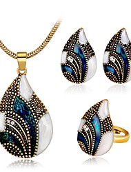 cheap -Women's Blue Synthetic Aquamarine Vintage Necklace Retro Drop Ladies Vintage Elegant fancy Earrings Jewelry Gold / Silver For Party Daily 1 set