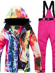 cheap -Vector Women's Ski Jacket with Pants Skiing Camping / Hiking Snowboarding Windproof Rain Waterproof Warm POLY Pants / Trousers Bib Pants Top Ski Wear / Winter