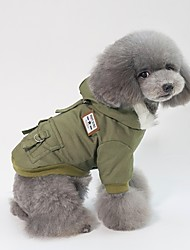 cheap -Dogs Cats Coat Jacket Winter Dog Clothes Warm Brown Green Gray Costume Husky Pug Schnauzer Cotton Solid Colored Leisure Minimalist S M L XL XXL