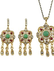 cheap -Women's AAA Cubic Zirconia Tourmaline Drop Earrings Pendant Necklace Hollow Out Flower Ladies Simple Fashion Earrings Jewelry Green For Ceremony Date 1 set