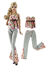 cheap -Doll Outfit Doll Pants Pants Tops 2 pcs For Barbiedoll Fashion Pink and Green Nonwoven Fabric Cloth Cotton Cloth Top / Pants For Girl's Doll Toy