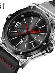 cheap -ASJ Men's Dress Watch Japanese Japanese Quartz Genuine Leather Black / Pool 100 m Calendar / date / day Analog Classic Casual Minimalist - Black Silver / Black One Year Battery Life