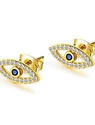 cheap -Women's Blue AAA Cubic Zirconia Stud Earrings Classic Eyes Ladies Stylish Vintage European 18K Gold Plated Titanium Steel Platinum Plated Earrings Jewelry Gold / Gold / White For Daily 1 Pair