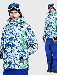 cheap -Vector Men's Ski Jacket with Pants Skiing Camping / Hiking Snowboarding Thermal / Warm Waterproof Windproof 100% Polyester Space Cotton Winter Jacket Bib Pants Ski Wear