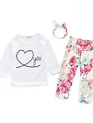 cheap -Baby Girls' Boho Daily Print Long Sleeve Regular Cotton Clothing Set White / Toddler