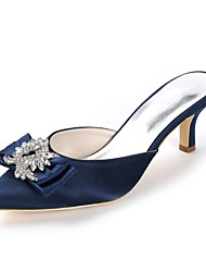 cheap -Women's Slingback Satin Spring & Summer Sweet Wedding Shoes Kitten Heel Pointed Toe Rhinestone / Bowknot Dark Purple / Champagne / Ivory / Party & Evening