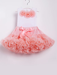 cheap -Kids Toddler Girls' Active Basic School Beach Floral Bow Pleated Sleeveless Regular Cotton Clothing Set Blushing Pink