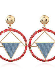cheap -Women's Drop Earrings Braided Ladies European 18K Gold Plated Earrings Jewelry Light Red For Going out 1 Pair