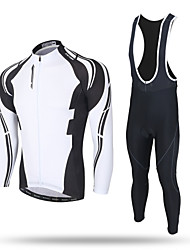 cheap -XINTOWN Men's Long Sleeve Cycling Jersey with Bib Tights Black Bike Pants / Trousers Jersey Bib Tights Thermal / Warm Windproof 3D Pad Reflective Strips Back Pocket Winter Sports Polyester Spandex