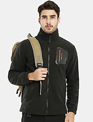 cheap -Men's Hiking Fleece Jacket Winter Outdoor Thermal / Warm Lightweight Breathable Stretchy Winter Jacket Fleece Single Slider Camping / Hiking Ice Skate Ski Dark Grey / Army Green / Blue