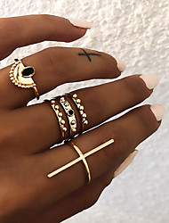 cheap -Women's Knuckle Ring Ring Set Multi Finger Ring 6pcs Gold Silver Resin Alloy Sector Ladies Vintage Punk Gift Daily Jewelry Retro Sideways Cross Cross Cool