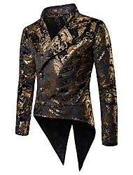 cheap -Men's Party / Club Basic / Punk & Gothic Winter / Fall & Winter Long Blazer, Print Notch Lapel Long Sleeve Polyester Print Gold / Wine