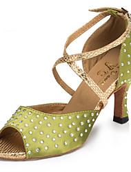 """Недорогие -Жен. Танцевальная обувь Сатин Обувь для латины Стразы / Crystal / Rhinestone На каблуках Каблук """"Клеш"""" Персонализируемая Зеленый / Выступление"""