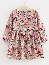 cheap -Kids Girls' Basic Dusty Rose Floral Long Sleeve Dress Blushing Pink