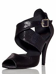 """Недорогие -Жен. Танцевальная обувь Сатин Обувь для латины Планка На каблуках Каблук """"Клеш"""" Черный / Синий / Телесный / Выступление / Тренировочные / EU38"""