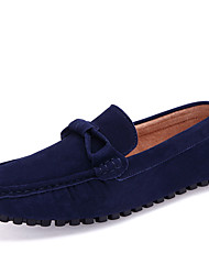cheap -Men's Moccasin Driving Shoes Fall / Spring & Summer Casual Daily Loafers & Slip-Ons Walking Shoes Cowhide / Pigskin Breathable Non-slipping Wear Proof Wine / Brown / Dark Blue