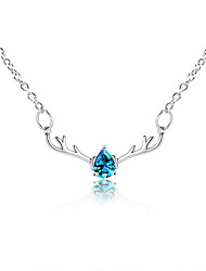 cheap -Women's Crystal Pendant Necklace Deer European Fashion Cute Chrome White Blue Pink 53+5 cm Necklace Jewelry 1pc For Daily Holiday Going out Work
