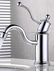 cheap -Bathroom Sink Faucet - Widespread / New Design Chrome Deck Mounted Single Handle One HoleBath Taps