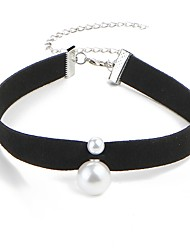 cheap -Women's Classic Choker Necklace - Imitation Pearl Simple Black 30+8 cm Necklace Jewelry 1pc For Daily, Festival