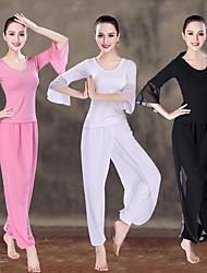 abordables -Femme Taille Haute Dos Croisé Costume de yoga Couleur unie Modal Maille Zumba Pilates Danse Tee Shirt Culotte Bouffante Ensembles de Sport Grandes Tailles Manches 3/4 Tenues de Sport Poids Léger
