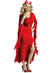 cheap -Devil Women's Christmas Halloween Festival / Holiday Polyester Red Female Carnival Costumes Solid Colored