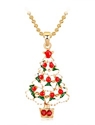 cheap -Women's Pendant Necklace 3D Christmas Tree Ladies Classic Sweet Fashion Rhinestone Alloy Rainbow 47 cm Necklace Jewelry 1pc For Christmas New Year