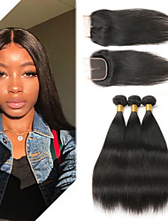 cheap -3 Bundles with Closure Indian Hair Straight Remy Human Hair Human Hair Extensions Hair Weft with Closure 8-26 inch Natural Human Hair Weaves Soft Best Quality New Arrival Human Hair Extensions / 10A