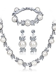 cheap -Women's Necklace Classic Sweet Fashion Elegant Imitation Pearl Earrings Jewelry Silver For Wedding Party 1 set