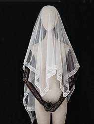 cheap -Two-tier European Style / Vintage Inspired Wedding Veil Elbow Veils with Fringe / Solid / Trim Tulle / Drop Veil