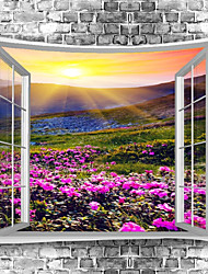 cheap -Window Landscape Wall Tapestry Art Decor Blanket Curtain Picnic Tablecloth Hanging Home Bedroom Living Room Dorm Decoration Polyester Garden Flower Mountain