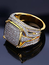 cheap -Men's Ring Signet Ring Cubic Zirconia 1pc Gold Copper Rhinestone Geometric Stylish Luxury Hip Hop Wedding Party Jewelry Classic Cool