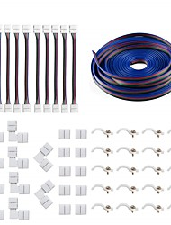 cheap -5050 4Pin LED Strip Connector Kit - 10mm RGB LED Connector Kit includes 5M RGB Extension Cable, 10x LED Strip Jumper, 10x L Shape Connectors, 10x Gapless Connectors, 20x LED Strip Clips