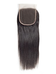 Недорогие -Бразильские волосы / Бирманские волосы 4x4 Закрытие Прямой Бесплатный Часть / Средняя часть / 3 Часть Корейское кружево Натуральные волосы Жен. Женский / Лучшее качество / Горячая распродажа