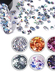 cheap -Gemstone & Crystal Glitter Powder 3D Nail Stickers Sequins For Finger Nail Toe Nail 3D Interface / Transparent / New Design Jewelry Series Romantic Series White Series nail art Manicure Pedicure