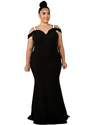 cheap -Women's Plus Size Party Elegant Maxi Skinny Trumpet / Mermaid Dress - Solid Colored High Waist Off Shoulder Fall Black Royal Blue XXXL 4XL XXXXXL / Sexy