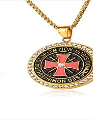 cheap -Men's Gold Cubic Zirconia Pendant Necklace Classic Cross Circle Cross Fashion Titanium Steel Gold 60 cm Necklace Jewelry 1pc For Party / Evening Daily