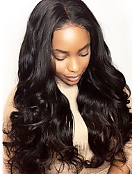 cheap -Remy Human Hair Full Lace Lace Front Wig Asymmetrical style Brazilian Hair Wavy Body Wave Natural Black Wig 130% 150% 180% Density with Baby Hair Soft Women Easy dressing Best Quality Women's Long