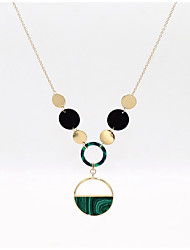 cheap -Women's Green Long Necklace Trace Circle Ladies Stylish Trendy Elegant Copper Stone Alloy Peacock Green 76 cm Necklace Jewelry 1 set For Evening Party Date
