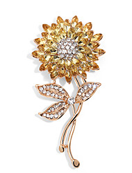 cheap -Women's Crystal Brooches Layered Sunflower Ladies Stylish Rhinestone Gold Plated Brooch Jewelry Gold For Street