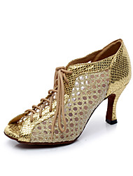 cheap -Women's Latin Shoes Mesh Sandal Slim High Heel Customizable Dance Shoes Gold / Silver / Performance / Practice