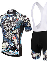 cheap -XINTOWN Short Sleeve Cycling Jersey with Bib Shorts - Blue Bike Bib Shorts / Jersey / Clothing Suit, Breathable, 3D Pad, Quick Dry, Ultraviolet Resistant, Sweat-wicking, Winter Painting / Stretchy