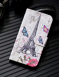 Недорогие -Кейс для Назначение SSamsung Galaxy S9 / S9 Plus / S8 Plus Кошелек / Бумажник для карт / со стендом Чехол Эйфелева башня Твердый Кожа PU