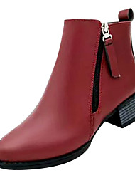 cheap -Women's Boots Fashion Boots Chunky Heel PU Mid-Calf Boots Casual Winter Wine / Black