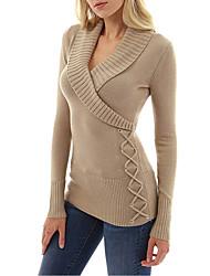 cheap -Women's Daily Street chic Solid Colored Long Sleeve Slim Regular Pullover Sweater Jumper, V Neck Fall / Winter Black / Dark Gray / Gray S / M / L