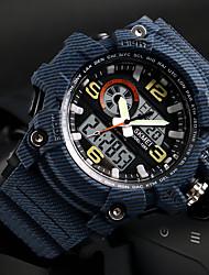 Недорогие -SKMEI Муж. Спортивные часы электронные часы Японский Цифровой Стеганная ПУ кожа Черный / Красный / Хаки 50 m Защита от влаги Календарь Хронометр Аналого-цифровые На каждый день Мода -