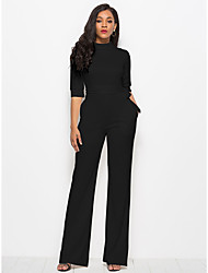 cheap -Women's Plus Size Daily Street chic Black Wine White Wide Leg Jumpsuit Onesie, Solid Colored S M L 3/4 Length Sleeve Spring Fall / Sexy