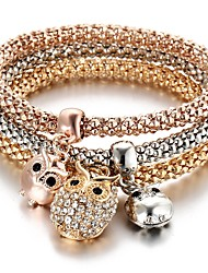 cheap -3pcs Women's Pendant Bracelet Layered Owl Ladies Sweet Rhinestone Bracelet Jewelry Rose Gold For Ceremony Evening Party