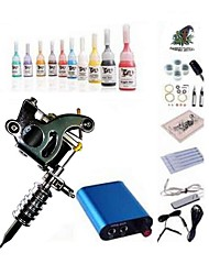 cheap -BaseKey Tattoo Machine Starter Kit - 1 pcs Tattoo Machines with 10 x 5 ml tattoo inks, Professional Mini power supply 1 steel machine liner & shader
