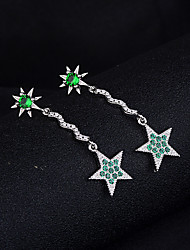 cheap -Women's Green Cubic Zirconia Drop Earrings Dangle Earrings Beaded Long Star Ladies Dangling Korean Sweet Platinum Plated Imitation Diamond S925 Sterling Silver Earrings Jewelry Green For Date Birthday